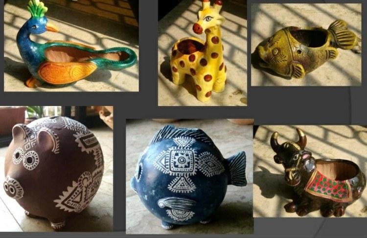 diseño macetas animales ceramica barro
