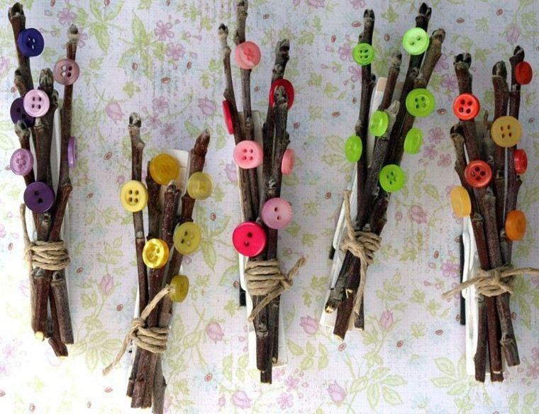 diseño manualidades botones ramas cuerdas