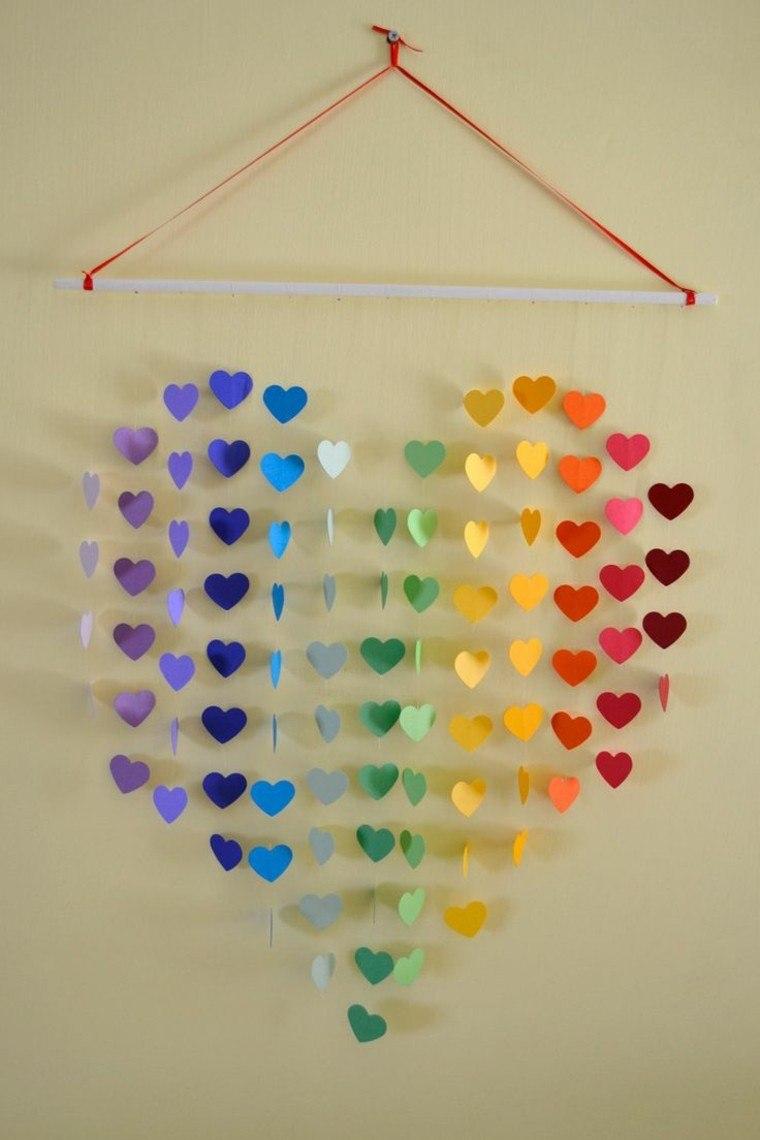 diseño manualidades colorido corazones azules
