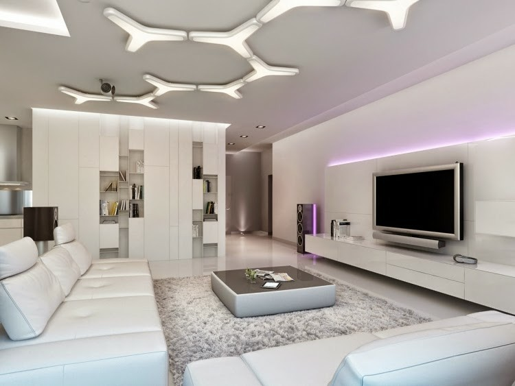 Techos modernos con luces led integradas 50 ideas - Focos de leds para casa ...