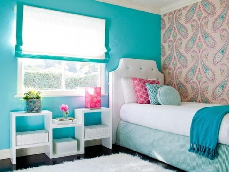 Habitacion juvenil chica dise os llenos de color - Papel pintado para dormitorio juvenil ...