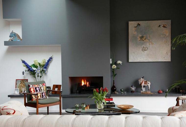salon pared color gris chimenea