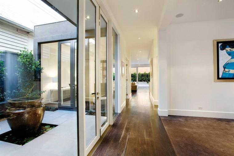 Diseño de arquitectura moderna con jardín interior. diseño pasillos jardin pequeño olla