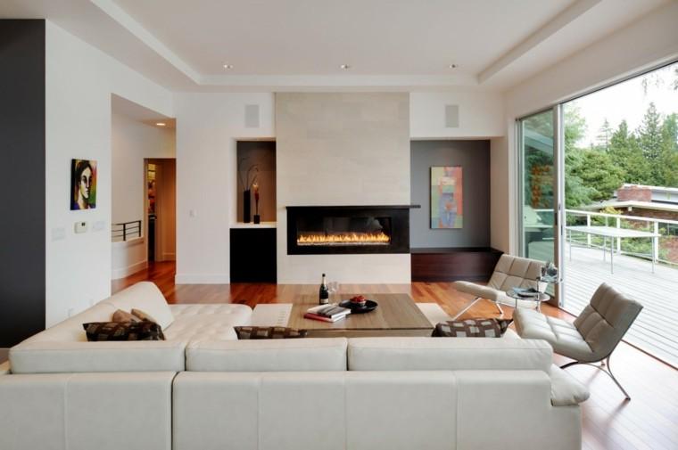 diseño salas de estar chimenea