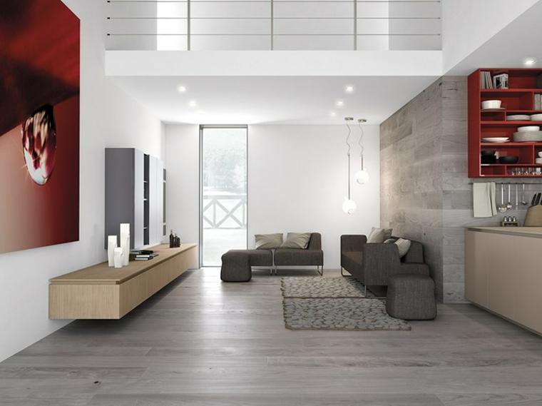 diseño salon revestimientos laminado madera
