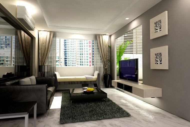 diseño salon pequeño alfombra verde