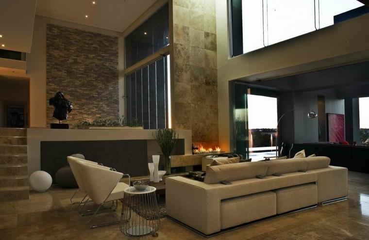 diseño salones modernos chimenea contemporaneos