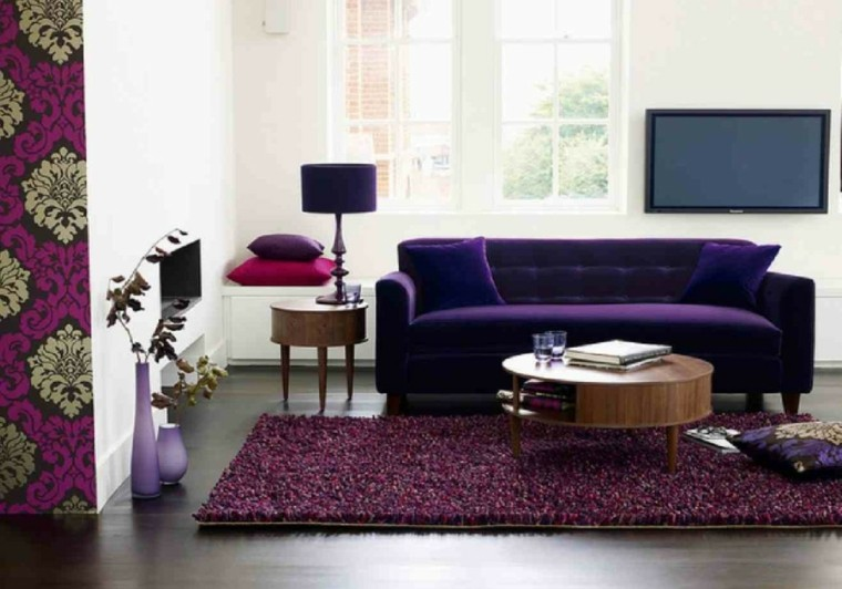 diseño sofa terciopelo color purpura