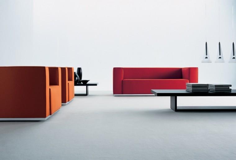 Sala De Estar Minimalista ~ Diseño de sala de estar minimalista con sillones rojos