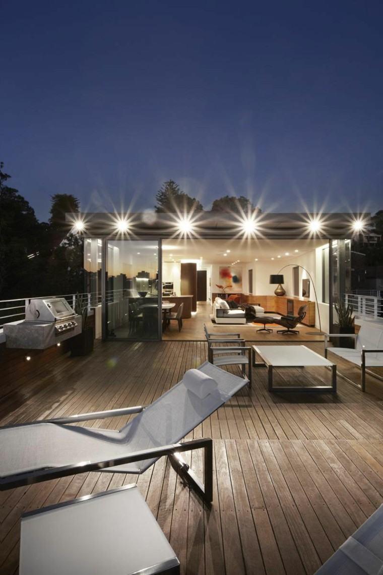 diseño terraza estilo moderno luces