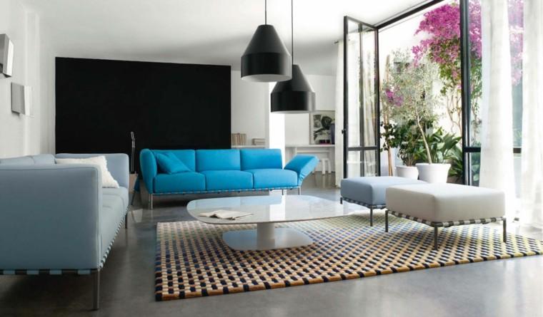 diseño salon sofa color azul