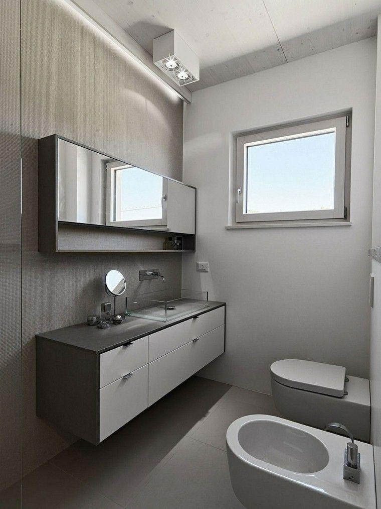 Dise o de ba os en color gris 50 ideas inspiradoras - Lavabos de pared ...