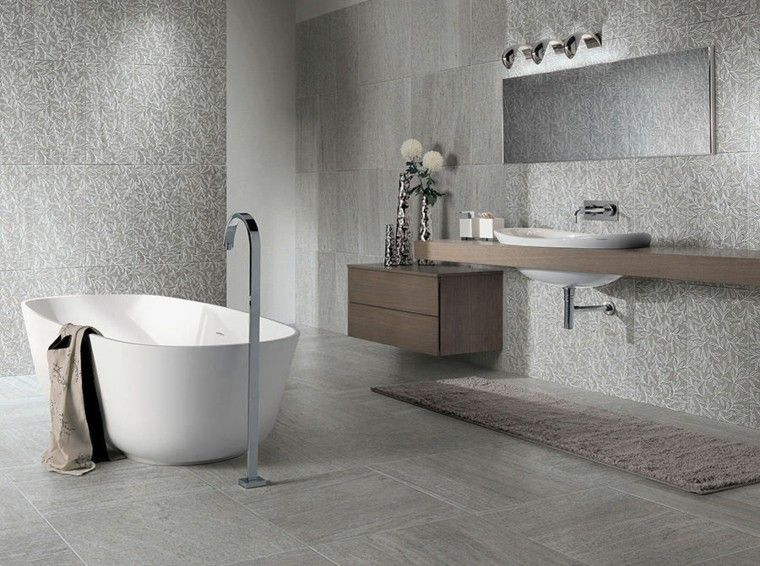 Baños Grises Modernos:diseño de baños banera blanca losas estampado preciosas ideas