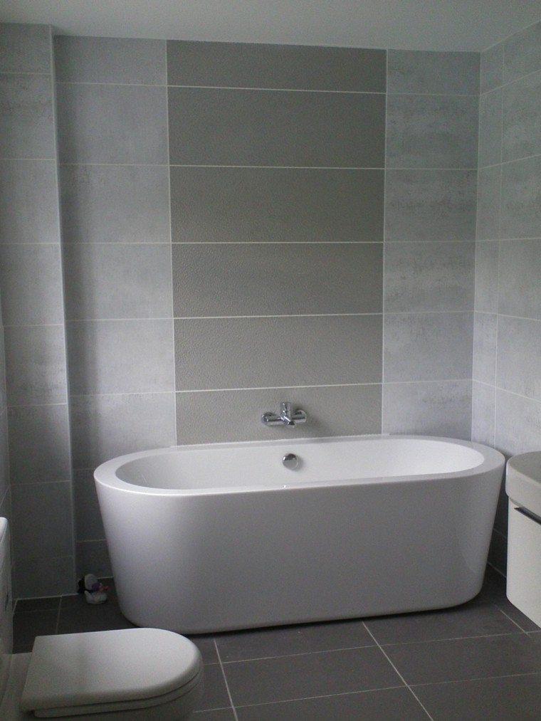 Diseno De Baños Color Gris:diseño de baños banera losas grises pequeno ideas