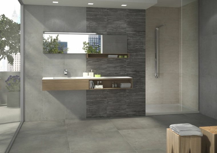 Baño Gris Con Madera:sillas de madera en el baño de diseño moderno de color gris