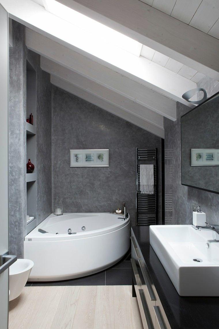 Dise o de ba os en color gris 50 ideas inspiradoras for Diseno de banos con guardas verticales