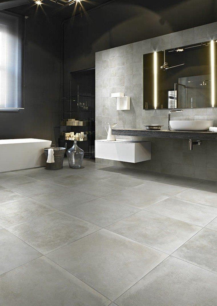 Baños Grises Modernos:diseño de baños losas grises banera blanca espejo ideas