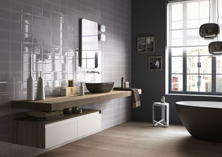 Baño Blanco Piso Gris:diseño de baños losas grises brillantes suelo madera ideas