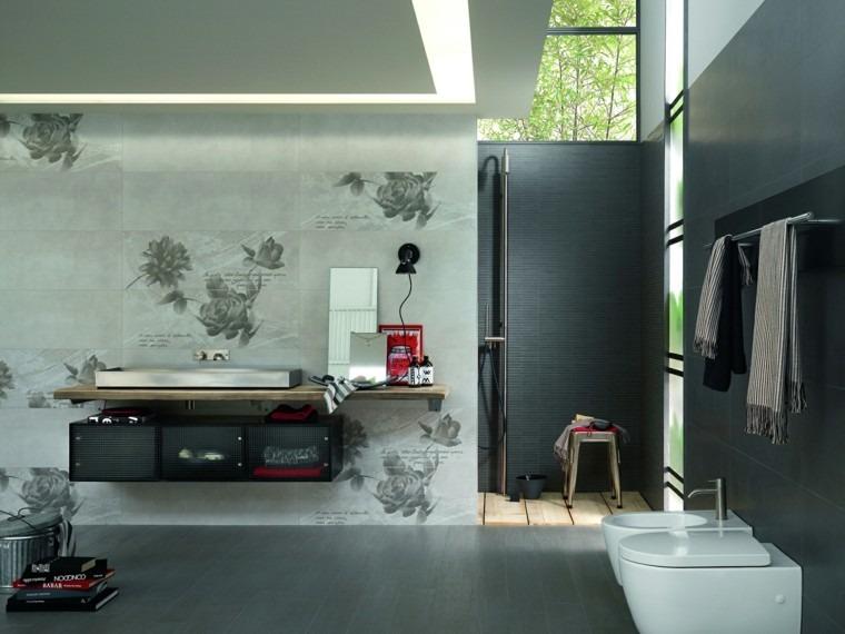 Baño Gris Con Madera:diseño de baños losas grises estampas rosas lavabo madera ideas