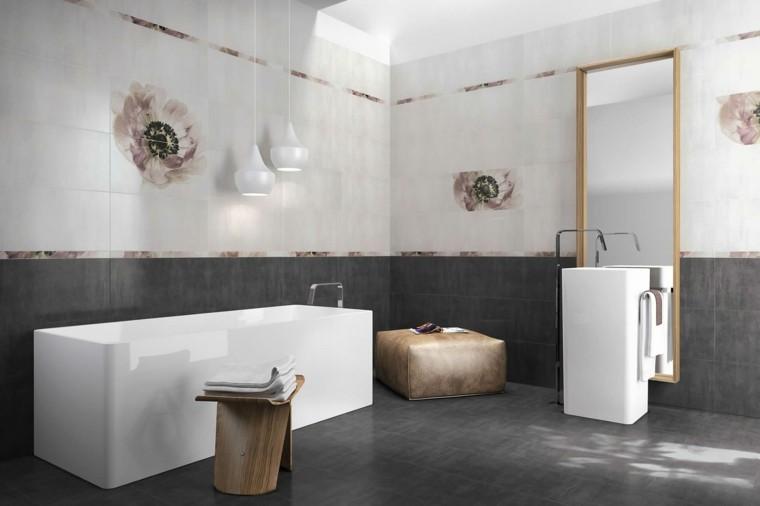 Baños Blanco Con Gris:Pared blanca y losas grises en el baño moderno