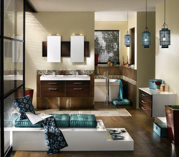 diseños de baños modernos banco cojines lamparas azules ideas