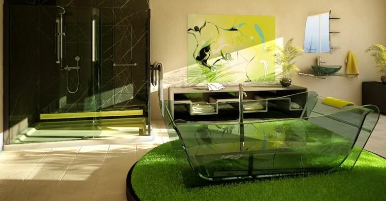 diseos de baos modernos banera cristal lujo ideas