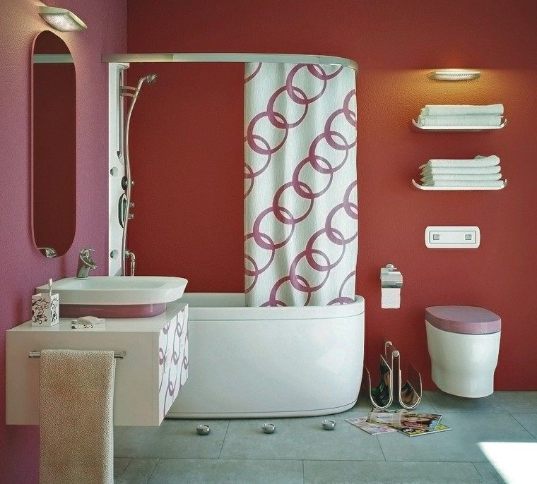 diseños de baños modernos color rosa cortina banera ideas