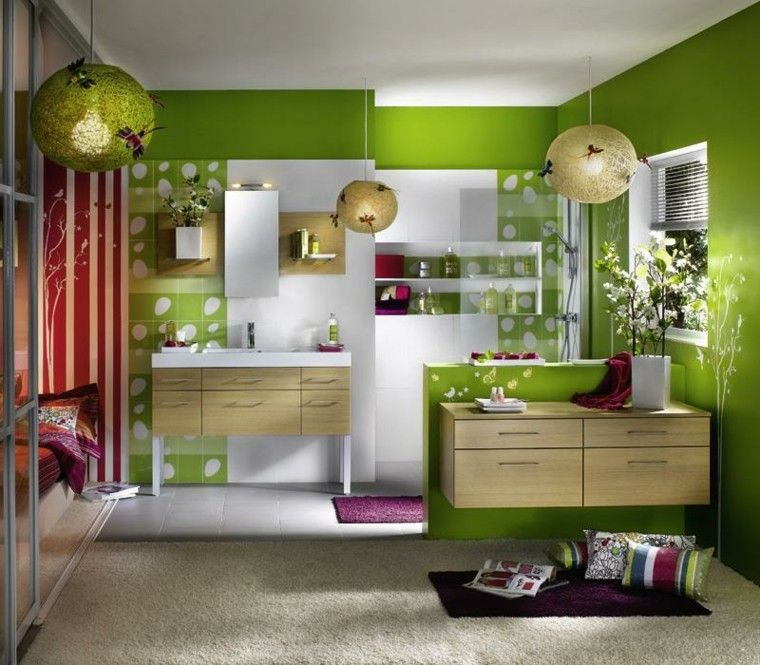 diseños de baños modernos color verde vibrante paredes ideas