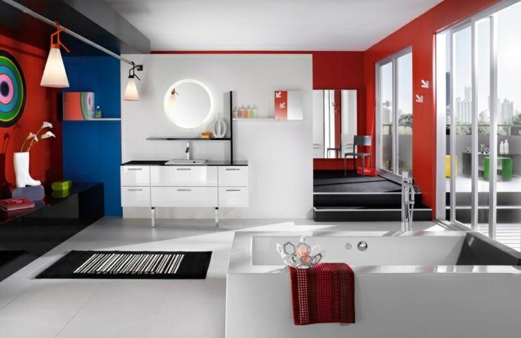 diseños de baños modernos combinacion rojo blanco ideas