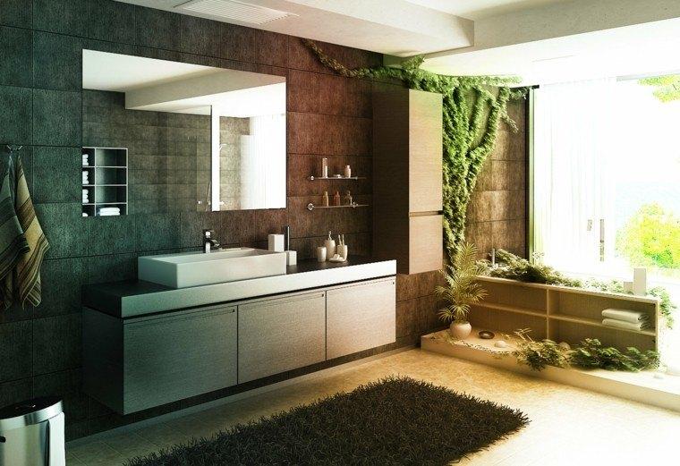 diseños de baños modernos espejo grande plantas ideas