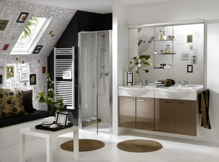diseños de baños modernos estilo original mesa banco ideas