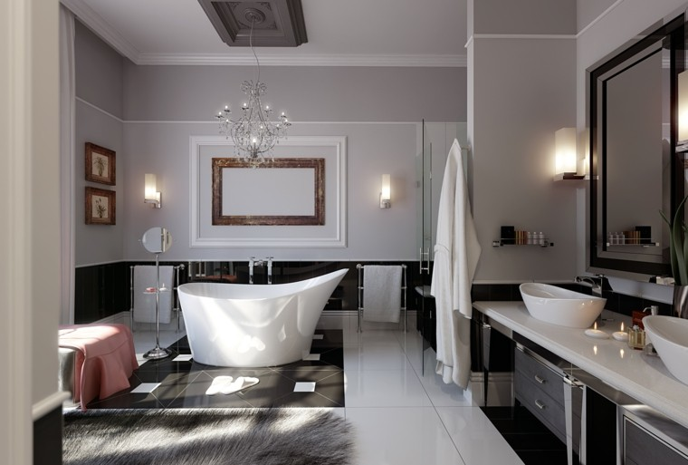 diseños de banos modernos glamuroso banera espejo ideas
