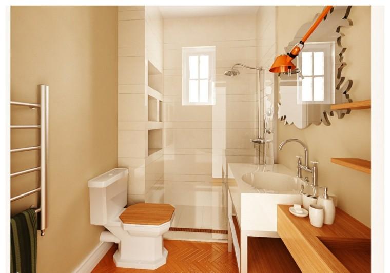diseños de baños modernos madera espejo original ideas