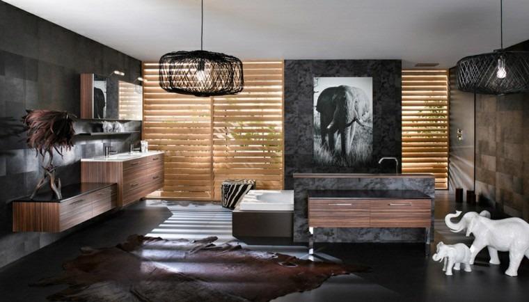 diseños de baños modernos persianas elefantes decorativos ideas