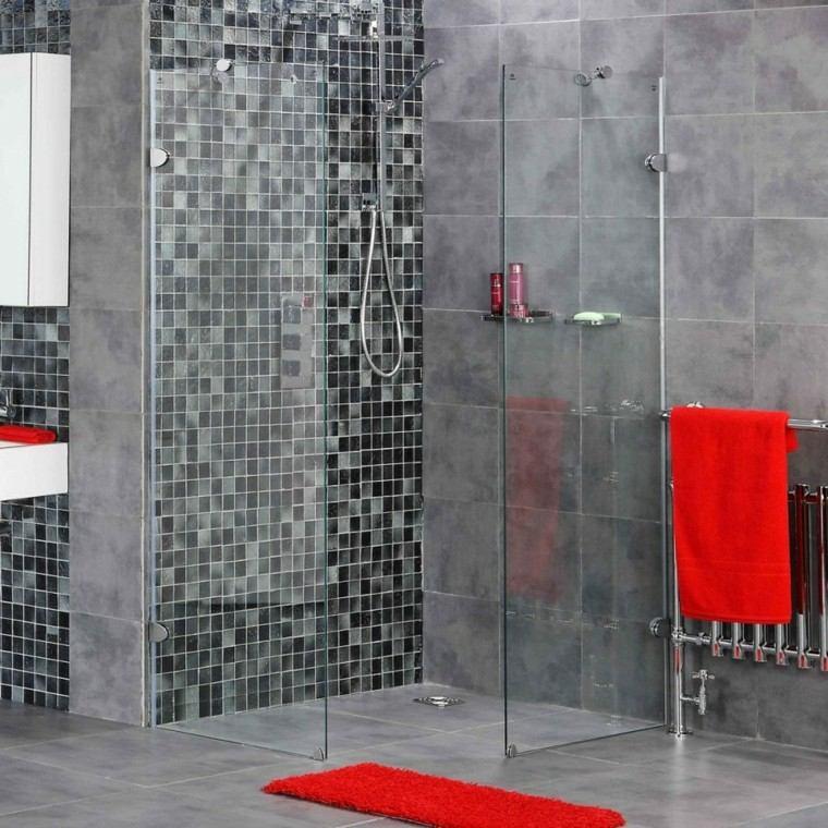 Baño De Color Rojo Oscuro:toques de color rojo en el baño de diseño moderno