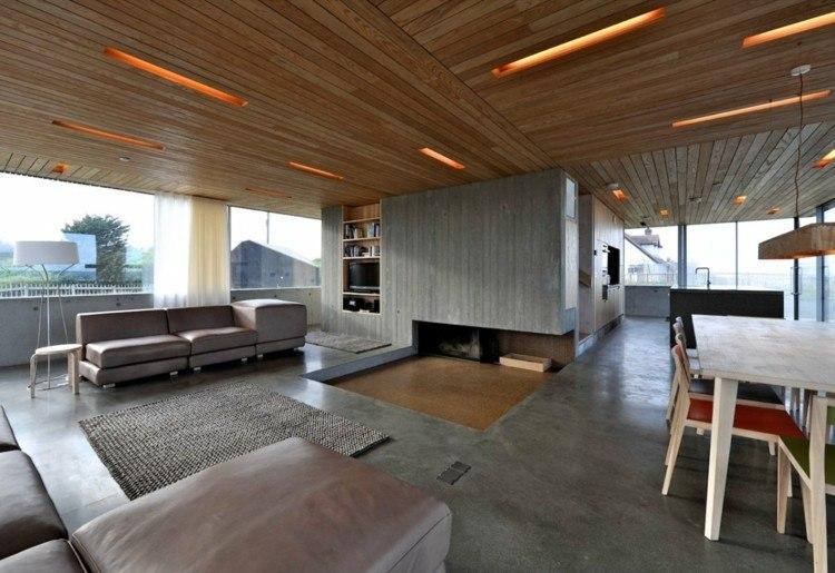 diseño techo madera luces integradas
