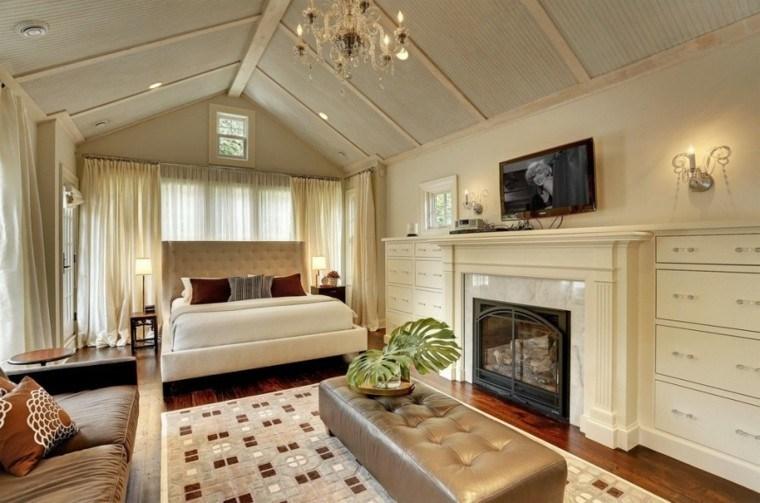 dormitorio amplio chimenea alfombra taburete grande ideas