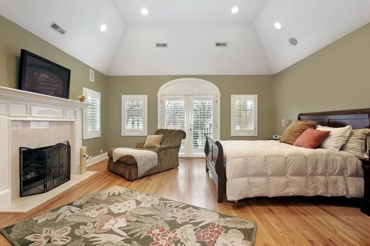 dormitorio amplio sillon grande chimenea ideas
