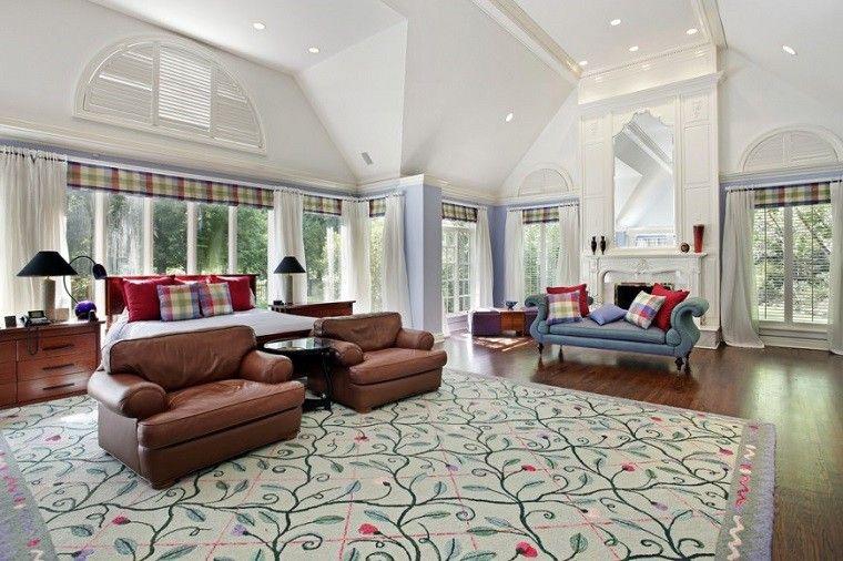 dormitorio amplio sillones cuero alfombra sofa preciosa ideas