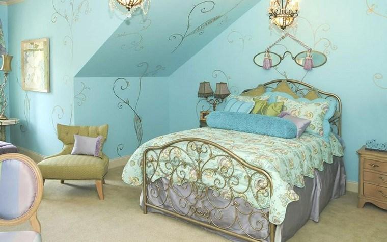 dormitorio color azul estilo vintage