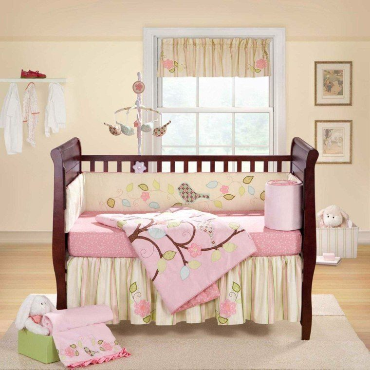 dormitorio bebe cuna madera caoba