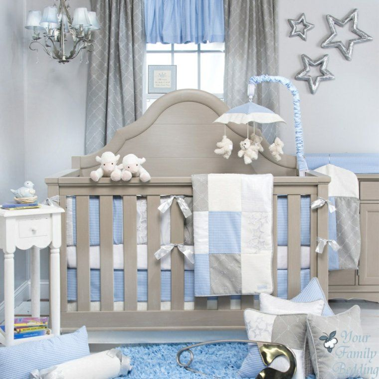 dormitorio bebe color azul y gris