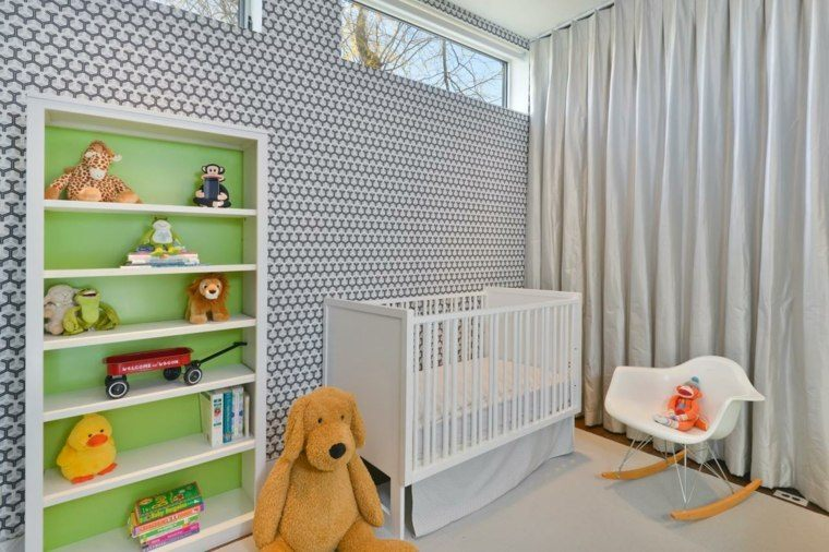 dormitorio bebe color gris cuna