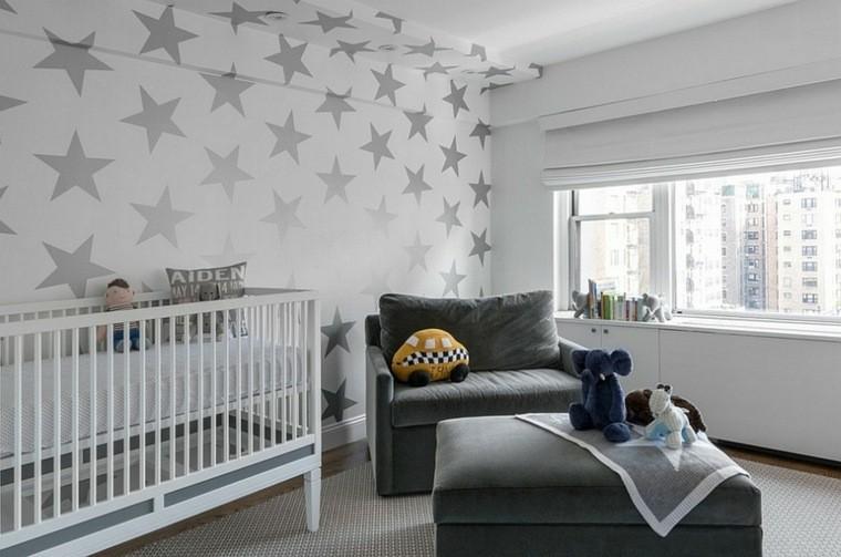 dormitorio bebe papel pared estrellas