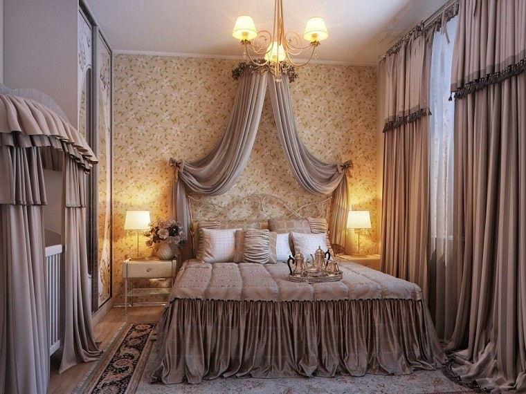 dormitorio cama grande romantico cortinas dosel ideas