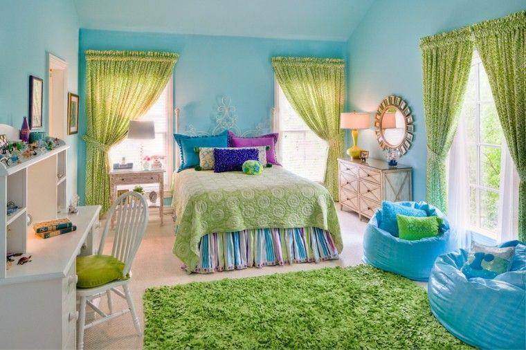 dormitorio diseño azul verde