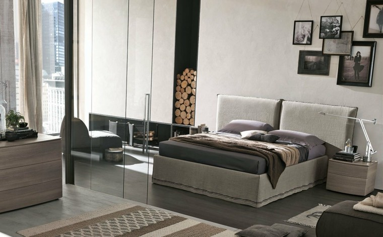 dormitorio cuadros colgando pared chimenea ideas
