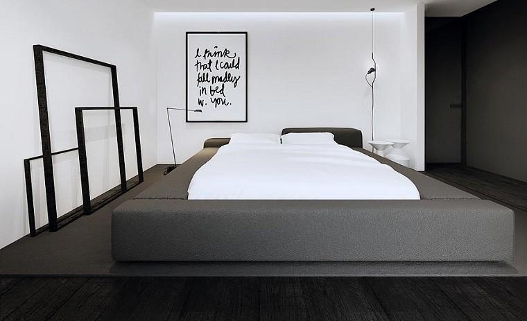 dormitorio cuadro pared blanca cama gris ideas