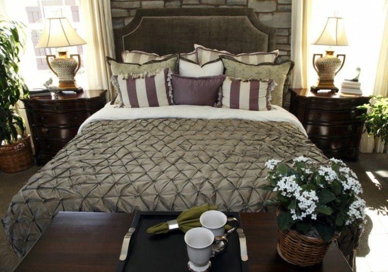 dormitorio estilo clasico muebles madera oscura ideas