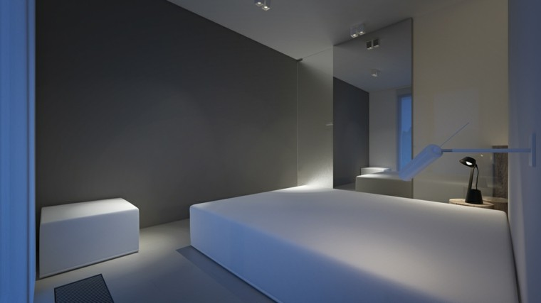dormitorio estilo minimalista cama blanca paredes grises ideas